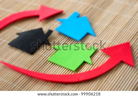 Housing and property market concept with graph - stock photo