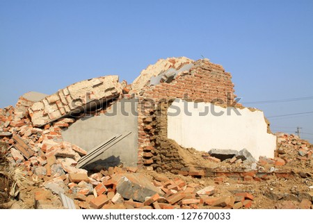 housing demolition materials in the demolition site, take photos in Luannan County, Hebei Province of China.