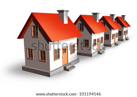 Housing development and the real estate market concept with homes and residential houses in a perspective row as a symbol of construction industry and mortgage rates on a white background.