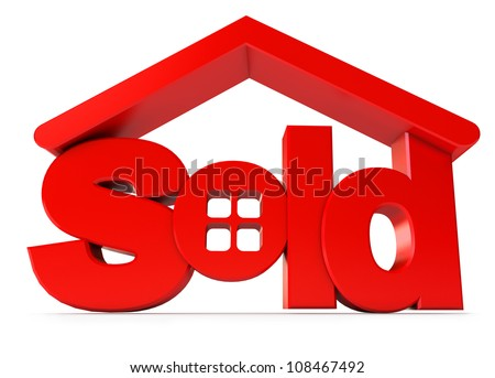 Housing for sale. Icon isolated on white background. 3d render