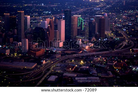 houston at night from small plane - stock photo