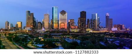 Houston July 4th 2018 Sunset Skyline #1127882333