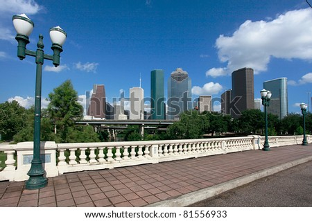 Houston skyline as seen from the Sabine Street Bridge
