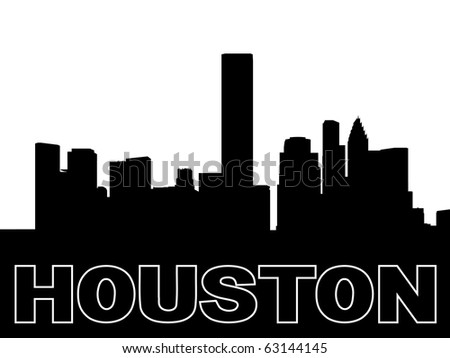 Houston skyline black silhouette on white illustration JPEG - stock photo