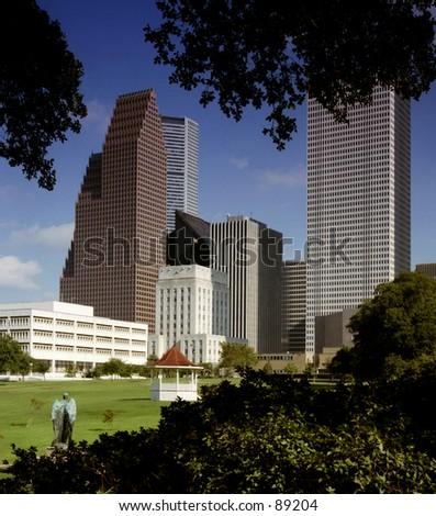 Houston skyline from park