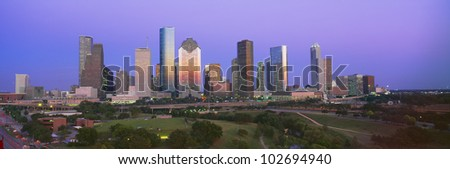 Houston Skyline, Memorial Park, Dusk, Texas - stock photo