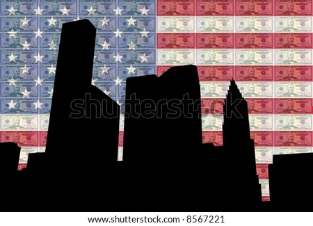 Houston skyline with Fifty dollar bills and American flag