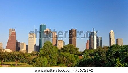 Houston Skyline with Green Park in foreground