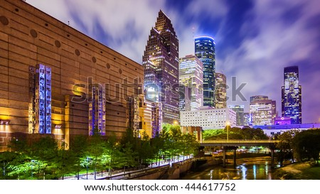 Houston, Texas downtown cityscape at night