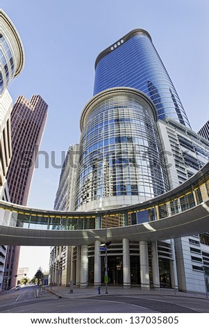 HOUSTON, TEXAS-MARCH 25: Houston Modern Office Building on March 25, 2013 in Houston, Texas.  Chevron Corp. agreed to buy a 50-floor Office Building which used to be the headquarters of Enron Corp.