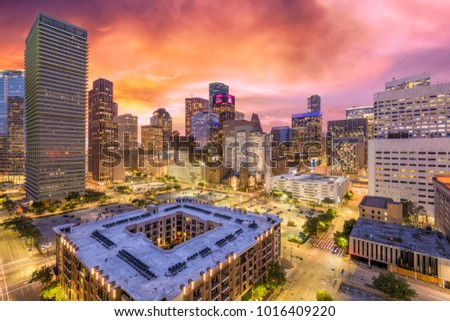Houston, Texas, USA downtown cityscape at dusk.