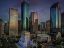 Houston, Texas, USA - November 15, 2020: Downtown Houston at dusk with Houston City Hall at the forefront