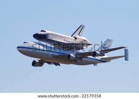 HOUSTON, TX - DECEMBER 11: Space Shuttle Endeavor is being carried on 747, flying over Houston on December 11, 2008, on the way from Edwards AFB to Cape Canaveral.