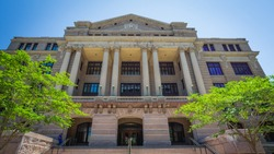 Houston TX/USA: May 18 2020: Harris County 1910 Courthouse is built in the Classical Revival Style with Beau Arts influences, It is on the National Register of HIstoric Places.