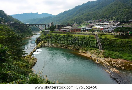 Houtong Cat Village and the old coal bridge over the Keelung River in Ruifang District, Taiwan