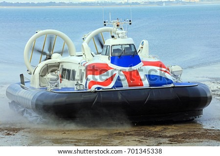 Hovercraft Coming Off The Sea Onto Land. Isle Of Wight. England - Shutterstock ID 701345338