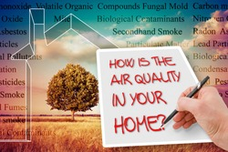 HOW IS THE AIR QUALITY IN YOUR HOME? - concept image with the most common dangerous domestic pollutants in our homes.