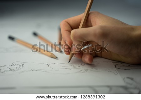 How to draw class of many figure drawing pencil and marker sketches. The artist worskspace with drawings and pencils on the white paper, art, craft, creativity, inspiration, concepts