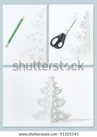 How to Make Christmas tree from office paper. Collage from three photos.
