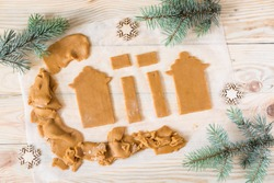 How to make gingerbread house, step by step, tutorial. Step 3. Cutting out parts of gingerbread house.