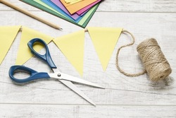 How to make paper bunting flags. Step by step, tutorial.