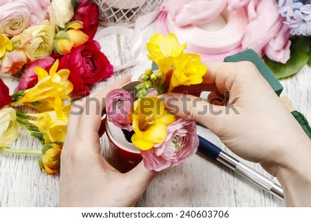 How to make spring bouquet of flowers in goose egg shell - step by step, tutorial