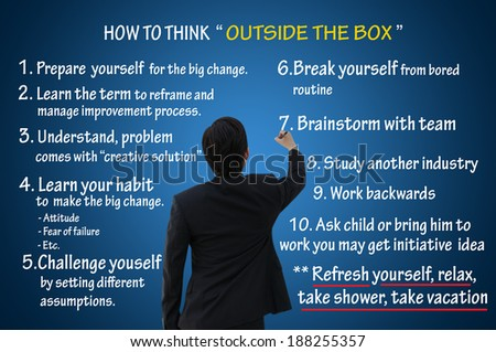 How to think outside the box, business concept