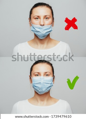 How to wear a mask. The wrong way to wear a mask on the chin and open nose is shown and the correct one.
