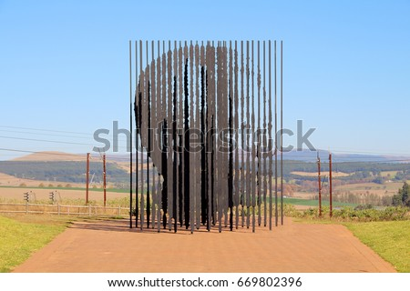 HOWICK, SOUTH AFRICA - 16 JUNE 2017: A memorial to Nelson Mandela at the site where the activist was captured in 1962. The sculpture was created by Marco Cianfanelli using steel beams. Editorial.