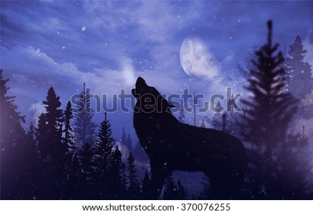 Stock Photo Howling Wolf in Wilderness. Mountain Landscape with Falling Snow, Moon and the Howling Alpha Wolf Illustration.