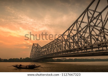 Howrah Bridge at Evening, Kolkata, India