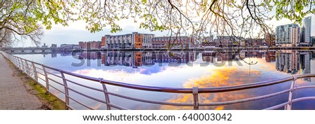 HQ and Res. Panorama of Sarsfield bridge and Limerick's City Centre, Ireland #640003042