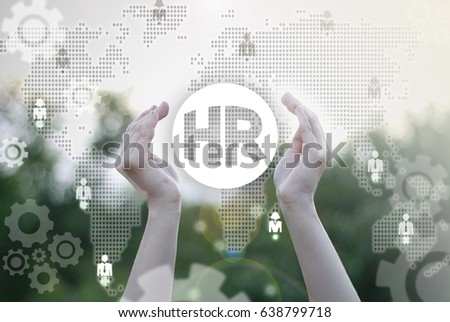 HR business concept. Human Resources recruitment technology. Hands offers hr circle icon on virtual screen on background of network people. Job office communication social media.