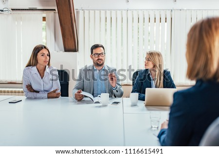 HR department interview a young female applicant.