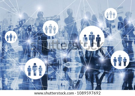 HR, human resources concept diagram double exposure, scheme of virtual network with people, online community, society