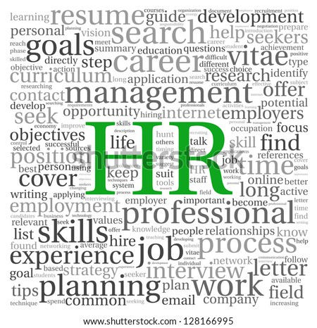 HR - human resources concept in tag cloud on white background - stock ...