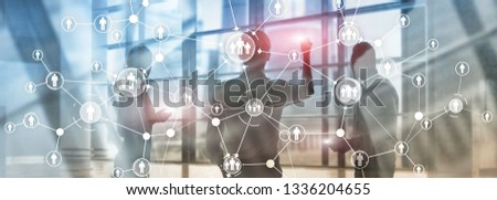 HR Human resources management peoples relation organisation structure virtual screen mixed media double exposure. #1336204655