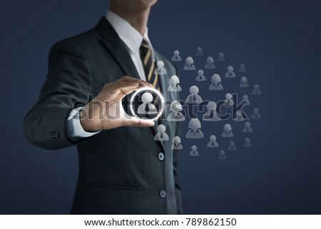 HR, human resources management, recruitment, employment or finding leader concept. Businessman is holding an officer icon