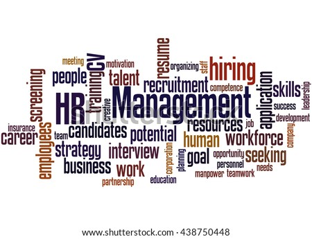 HR management, word cloud concept on white background.