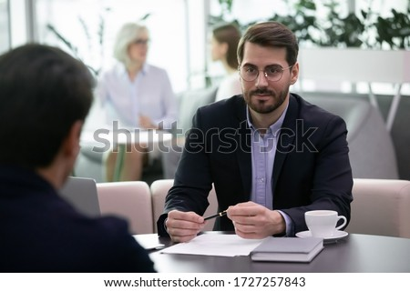 HR manager listen applicant at job interview process choose selects candidate for position in company. Businessmen investor and ceo negotiating before singing agreement succeed common decision concept
