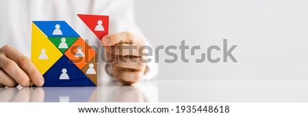 HR Recruitment Hand Making Tangram Puzzle. Talent Management Stock photo ©