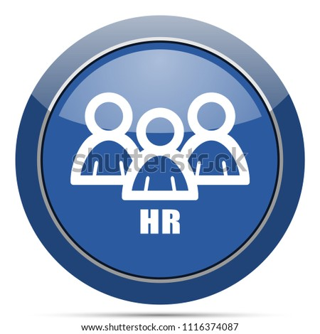 HR round glossy web icon. Blue circle pushbutton illustration on white background.