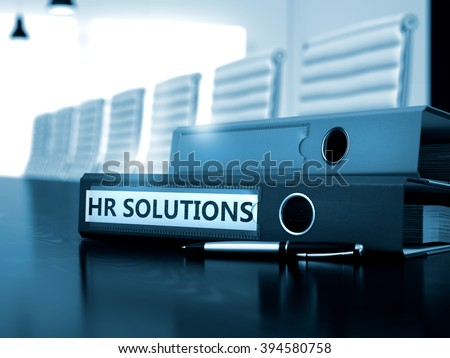 HR Solutions. Concept on Toned Background. HR Solutions - Ring Binder on Wooden Desktop. HR Solutions - Concept. HR Solutions - Business Concept on Toned Background. 3D.