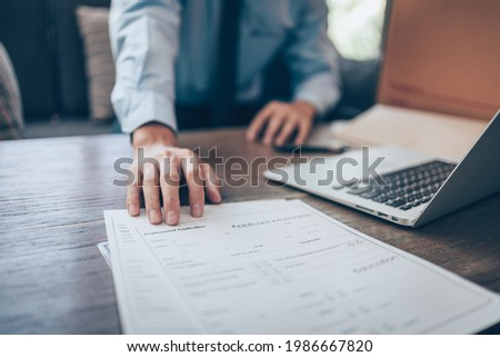 HR staff Submit a job application for new employees to fill out job application documents.job vacancy, job application concept.