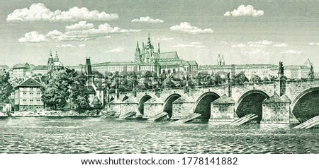 Hradcany (Castle District) and Charles Bridge across Vltava River in Prague, Portrait from Czechoslovakia 100 Korun 1961 Banknotes.  Foto d'archivio ©