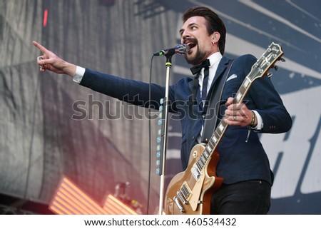 HRADEC KRALOVE - JULY 3: Singer and guitarist Adam Grahn of Royal Republic during performance at festival Rock for People in Hradec Kralove, Czech republic, July 3, 2016.