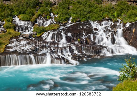 Hraunfossar is a very beautiful Icelandic waterfall in the west of the island.