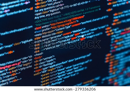 HTML and CSS code developing screenshot. Abstract web site source listing on black background with colored syntax
