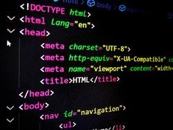 html code, html, html5, source code, title, programming language, markup language, html code on computer screen