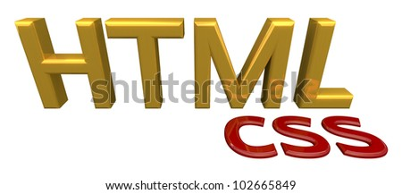 Html css block letters, white background.